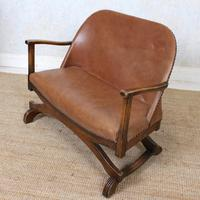 Carved Oak Leather Bucket Sofa & Chair (7 of 24)