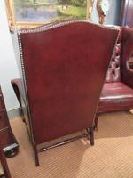 Superb Antique Leather Buttoned Wing Armchair (6 of 8)