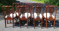 1960s Set of 8 Mahogany Chippendale Style Dining Chairs Pop Out Seats (4 of 4)