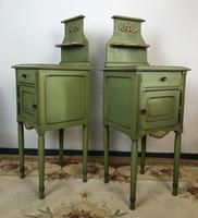 Antique French Painted Bedside Tables Pot Cupboards Original Paint (4 of 13)