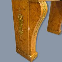 French Burr Walnut & Marble Top Console Table (8 of 14)
