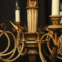 French Giltwood Polychrome 6 Light Chandelier (5 of 10)