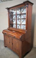 19th Century Figured Mahogany Cylinder Bureau Bookcase (3 of 12)