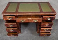 Reproduction Carved Mahogany Kneehole Pedestal Desk (2 of 11)