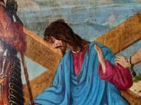 Lovely 19th Century Religious Old Master Christ & Cross Oil Painting - Set 14 Available (7 of 19)