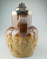 Large & Handsome Stoneware Salt Glaze Sprigged Beer Jug 19th Century (6 of 9)