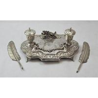 Impressive Sterling Silver Inkwell, approximately 42 x 21cm. (7 of 7)