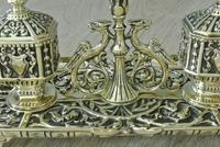 Fine William Tonks & Sons Brass Inkwell Registered Diamond for 1883 Double Inkstand (4 of 10)