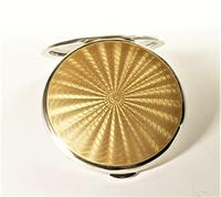 Sterling Silver & Guilloche Enamel Compact Mirror (2 of 7)