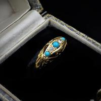 Antique Turquoise and Diamond Five Stone Scroll Boat 18ct 18K Yellow Gold Ring (3 of 10)