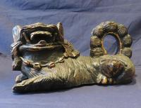 """16"""" Wide Antique Temple Dogs Fo Dogs Hand Carved T (7 of 9)"""