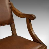 Set of 8, Antique Dining Chairs, Oak, Seat, Arts & Crafts, Hamptons, Edwardian (4 of 11)