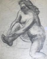 Original Expressionist Pencil Drawing 'Double Sided' of a Woman Washing by Tony Bartl 1910-2002. Signed & Dated 48 (4 of 4)