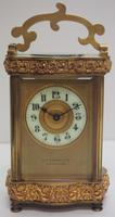 Fine Antique French 8-day Serpentine Fleur De Lis Decorated Panel 8-day Carriage Clock Timepiece c.1890 (2 of 10)
