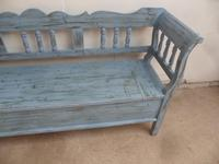 Lovely Sky Blue 3 Seater Antique Pine Kitchen / Hall Box Settle / Bench (3 of 10)