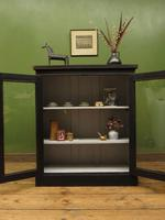 Antique Black Display Cabinet Bookcase, Alcove Cabinet, Gothic Shabby Chic (14 of 17)