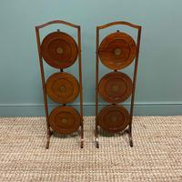 Unusual Pair of Antique Mahogany Folding Cake Stands (3 of 5)
