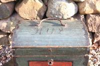 Scandinavian / Swedish 'Folk Art' Small blue-black orginal paint, Hälsingland table chest box 1814 (6 of 25)