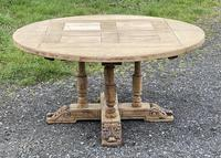 Large Round French Bleached Oak Farmhouse Table with Extensions (10 of 38)