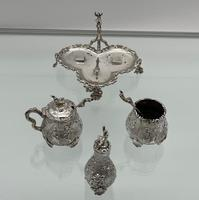 Antique Victorian Sterling Silver Condiment Set on Stand London 1879 George Fox (7 of 11)