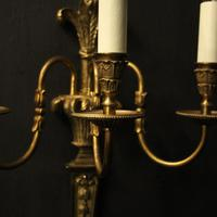 French Set of 4 Gilded Triple Arm Wall Lights (4 of 10)