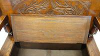 Late Victorian Carved Oak Monks Bench (10 of 16)