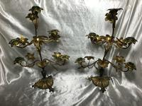 Pair of Art Nouveau French Gilt Bronze Ormolu 5 Branch Candelabra's & Ivory White Wax Candles (9 of 18)