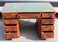 1920s Solid Mahogany Pedestal Desk with Green Top (2 of 4)