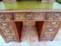 Country Oak Lions Head Pedestal Desk 1860 (3 of 12)