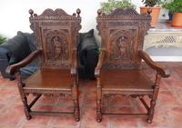 Pair of Victorian country oak wainscot chairs (Free shipping to Mainland England) (2 of 10)