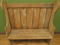 Antique Elm Tavern Bench Settle, Rustic Hall Seat (3 of 19)