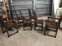 Set of 6 Antique Leather Studded Chairs (4 of 4)