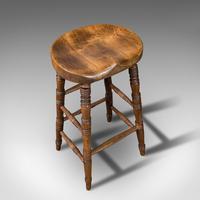 Antique Artist's Stool, English, Beech, Ash, Saddle Seat, Victorian c.1900 (7 of 12)
