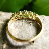 Antique Edwardian Demantoid Garnet Five Stone Ring 1911, Green Garnet (6 of 8)