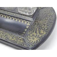 19th Century Brass Inlaid Twin Inkwell Stand c.1850 (3 of 7)