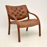 Pair of Scandinavian Bentwood & Leather Vintage Armchairs (6 of 14)