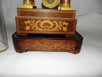 French Rosewwod Portico Clock Complete with Dome & Stand (6 of 9)