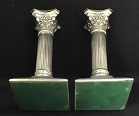 Pair of Square Base Late Victorian Silver Plate Corinthian Column Candlesticks (5 of 6)