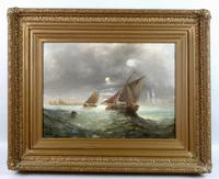 Pair of George H. Knight Oil on Canvas Paintings of Marine Scenes (5 of 9)