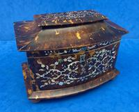 Victorian Tortoiseshell Tea Caddy with Mother of Pearl Inlay (15 of 20)