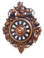 Rare Antique French Carved Dial Wall Clock 8 Day Movement Dial Black Forest Design (4 of 10)