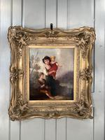 Antique Georgian early Victorian oil painting portrait of children in gesso frame (9 of 9)