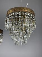 Pair of French 1930s Flush Ceiling Crystal & Brass Ceiling Lights, Rewired (6 of 9)