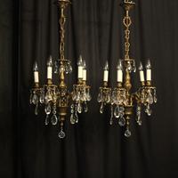 Italian Pair of 5 Light Antique Chandeliers (4 of 8)