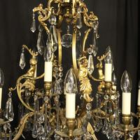 French Pair Bronze 12 Light Antique Chandeliers (7 of 11)