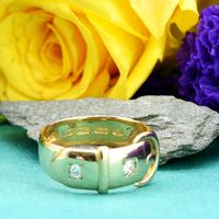 The Antique Victorian 1890 Gold & Diamond Buckle Ring (3 of 7)
