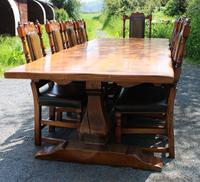 1960's Oak Dining Suite with Refectory Table & Set 10 Chairs - 8+2 Carvers (3 of 9)