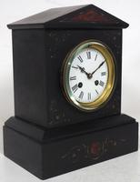 Antique French Slate Mantel Clock 8-Day Striking Mantle Clock with Red Marble & Gilt Decoration (3 of 9)