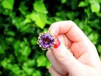 12.50ct Amethyst & Seed Pearl, 15ct Yellow Gold Brooch - Antique c.1890 (2 of 9)