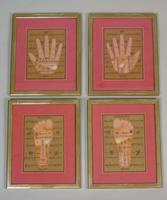 Rare Set of 4 Antique Indian Paintings Palmistry & Solestry